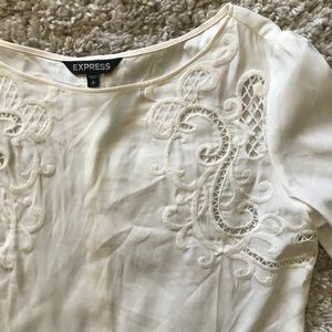 Express embroidered off-white blouse